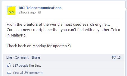 DiGi's Facebook hinting about Nexus 4