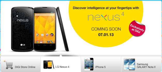 DiGi's Nexus 4 Website Announcement