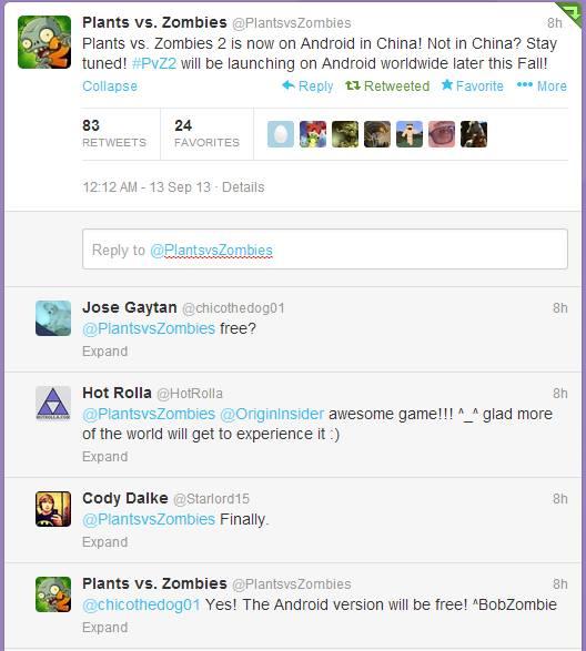 Plants Vs Zombies - Twitter Announcement